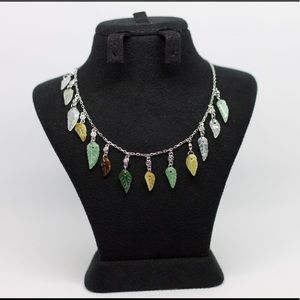 Glass Drops Leaves Necklace